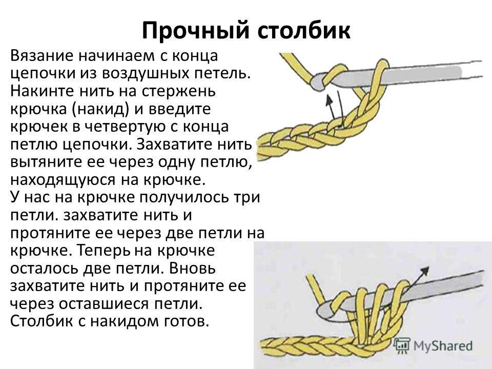 Прочный столбик Вязание начинаем с конца цепочки из воздушных петель. Накинте нить на стержень крючка (накид) и введите крючек в четвертую с конца петлю цепочки. Захватите нить и вытяните ее через одну петлю, находящуюся на крючке. У нас на крючке по