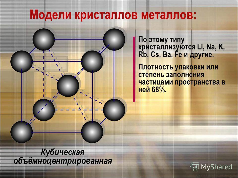 Модели кристаллов металлов: Кубическая объёмноцентрированная По этому типу кристаллизуются Li, Na, K, Rb, Cs, Ba, Fe и другие. Плотность упаковки или степень заполнения частицами пространства в ней 68%.