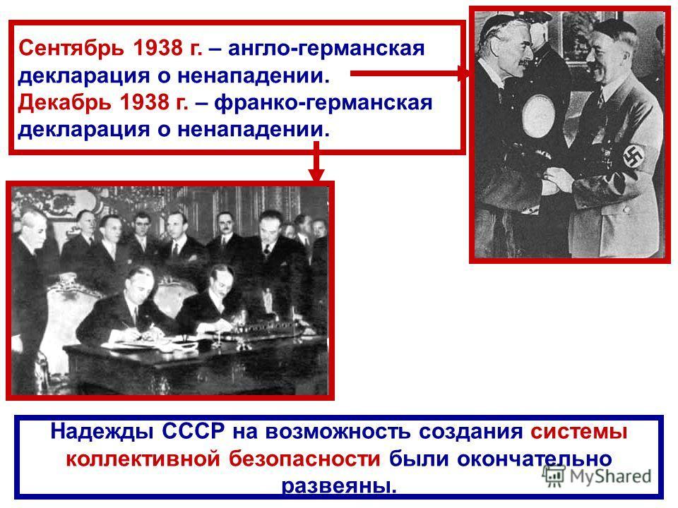 Сентябрь 1938 г. – англо-германская декларация о ненападении. Декабрь 1938 г. – франко-германская декларация о ненападении. Надежды СССР на возможность создания системы коллективной безопасности были окончательно развеяны.