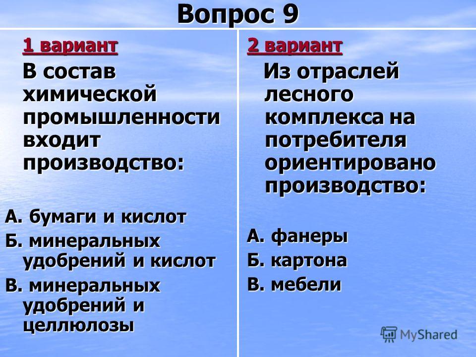 Вопрос 9 1 вариант 1 вариант В состав химической промышленности входит производство: В состав химической промышленности входит производство: А. бумаги и кислот Б. минеральных удобрений и кислот В. минеральных удобрений и целлюлозы 2 вариант Из отрасл
