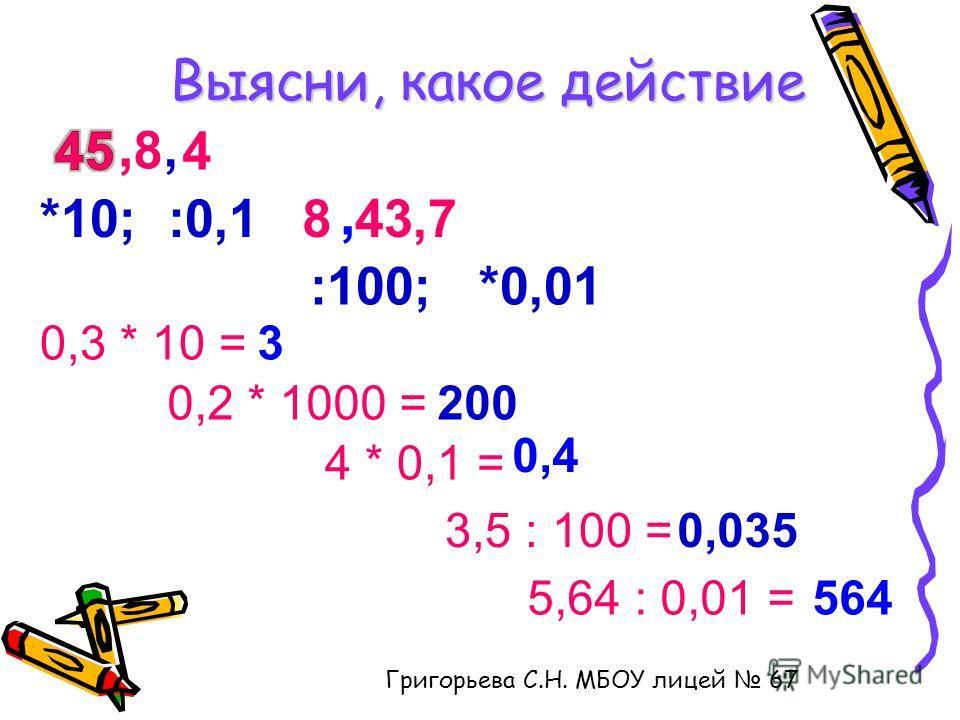 Выясни, какое действие, 8, 4 8, 43,7*10; :0,1 :100; *0,01 0,3 * 10 =3 0,2 * 1000 =200 4 * 0,1 = 0,4 3,5 : 100 =0,035 5,64 : 0,01 =564 Григорьева С.Н. МБОУ лицей 67