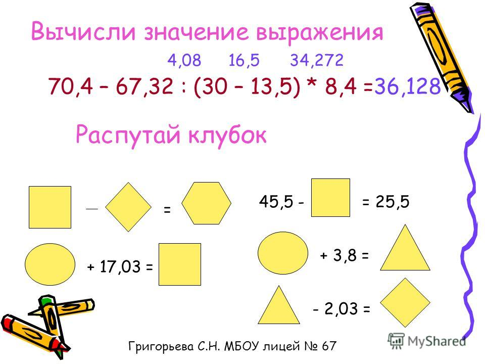 Вычисли значение выражения 70,4 – 67,32 : (30 – 13,5) * 8,4 = 16,54,0834,272 36,128 Распутай клубок = + 17,03 = 45,5 -= 25,5 + 3,8 = - 2,03 = Григорьева С.Н. МБОУ лицей 67
