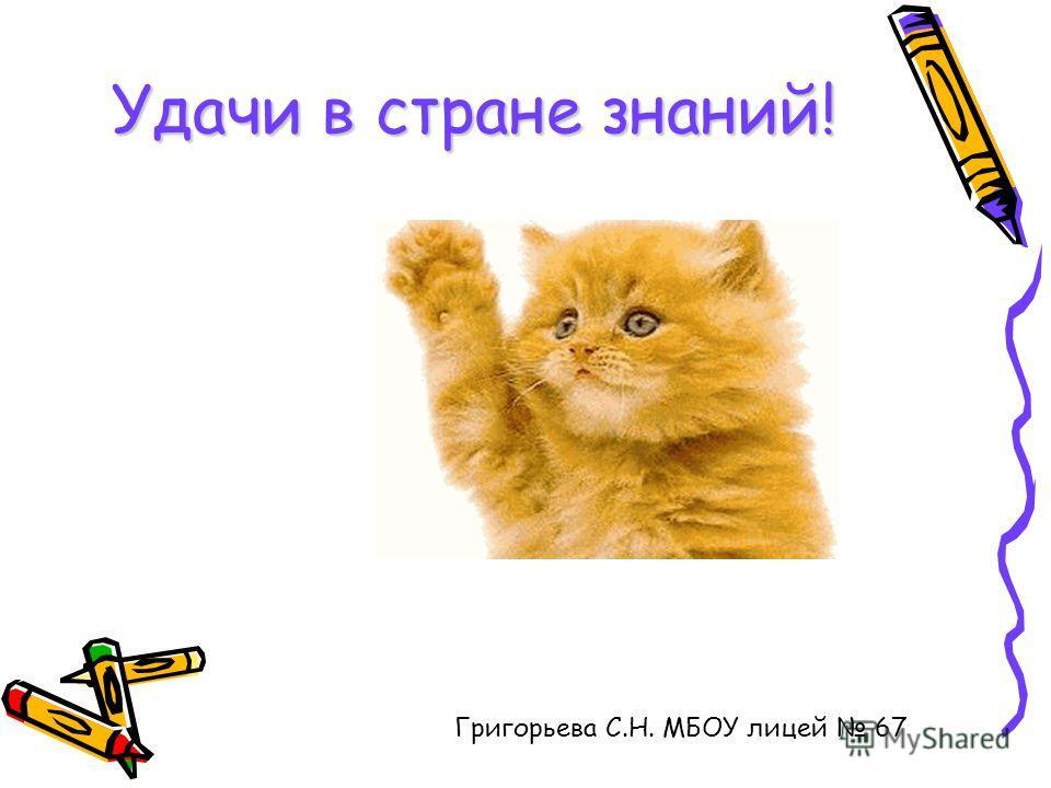 Удачи в стране знаний! Григорьева С.Н. МБОУ лицей 67