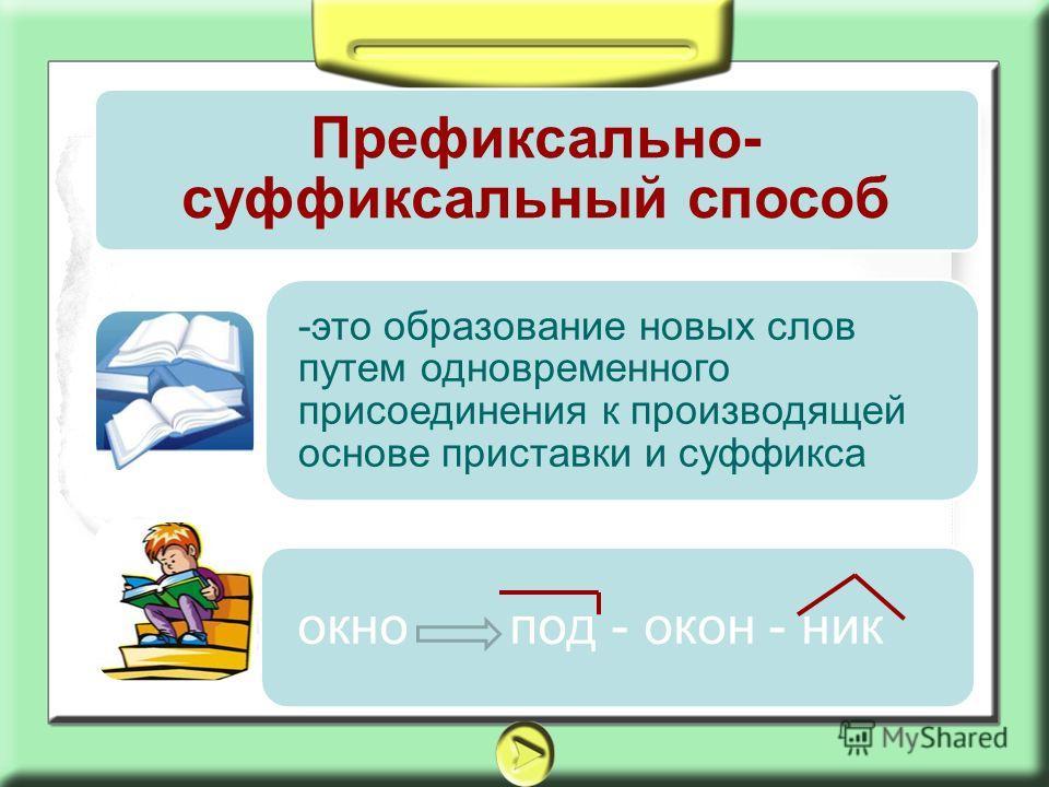 Префиксально- суффиксальный способ -это образование новых слов путем одновременного присоединения к производящей основе приставки и суффикса окно под - окон - ник