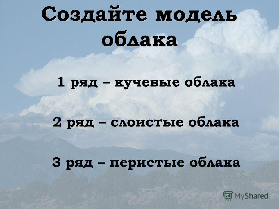 Создайте модель облака 1 ряд – кучевые облака 2 ряд – слоистые облака 3 ряд – перистые облака