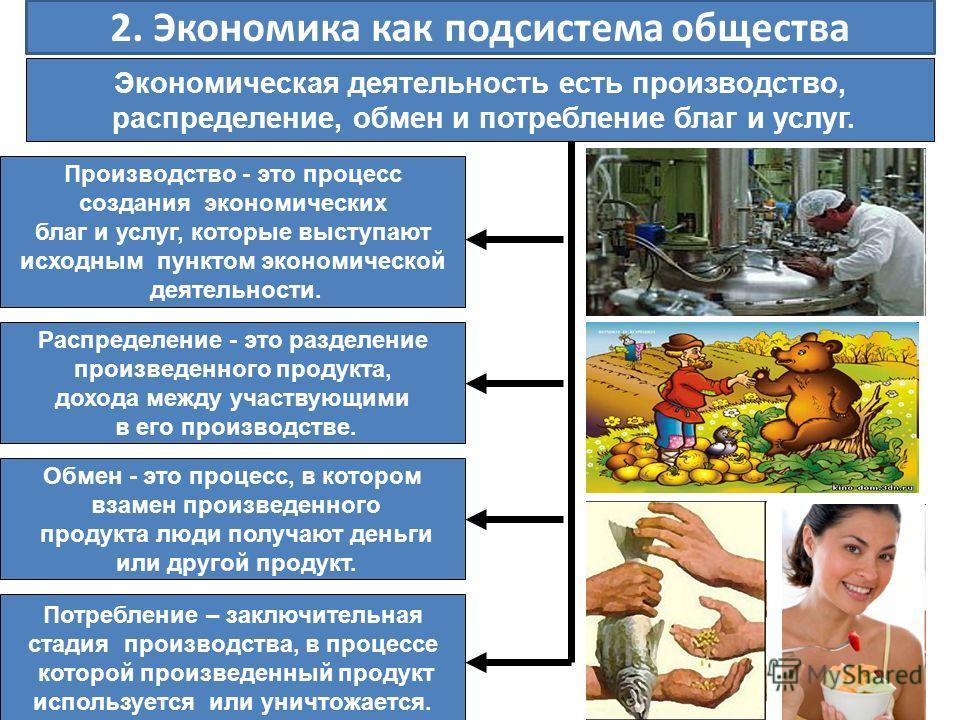 2. Экономика как подсистема общества Экономическая деятельность есть производство, распределение, обмен и потребление благ и услуг. Производство - это процесс создания экономических благ и услуг, которые выступают исходным пунктом экономической деяте