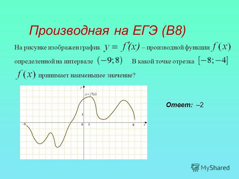 Производная на ЕГЭ (В8) На рисунке изображен график – производной функции определенной на интервале. В какой точке отрезка принимает наименьшее значение? Ответ: –2