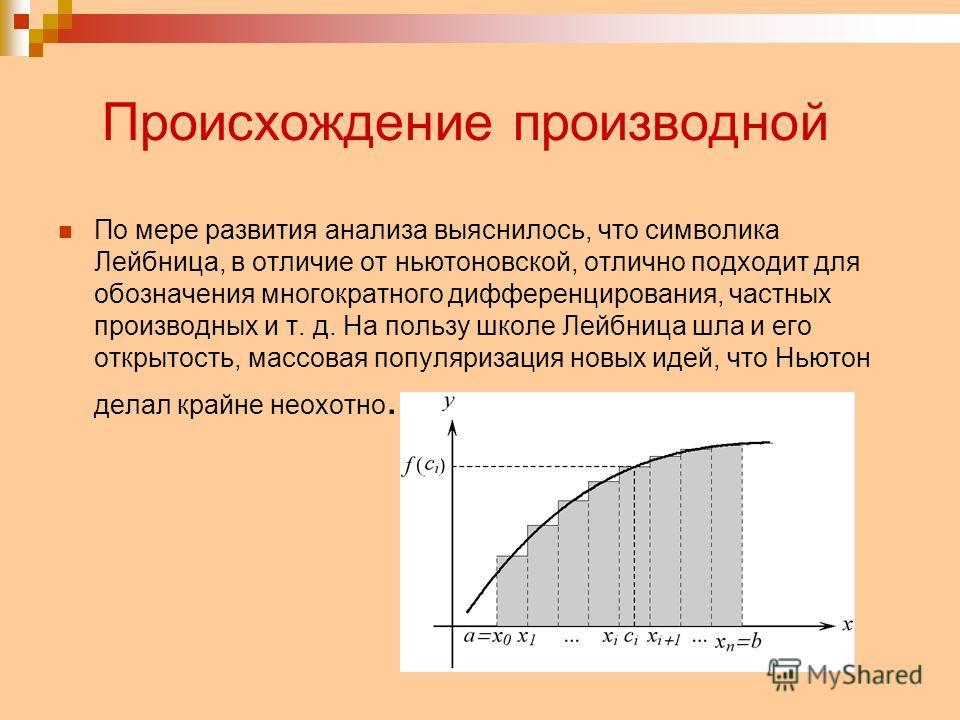 Происхождение производной По мере развития анализа выяснилось, что символика Лейбница, в отличие от ньютоновской, отлично подходит для обозначения многократного дифференцирования, частных производных и т. д. На пользу школе Лейбница шла и его открыто