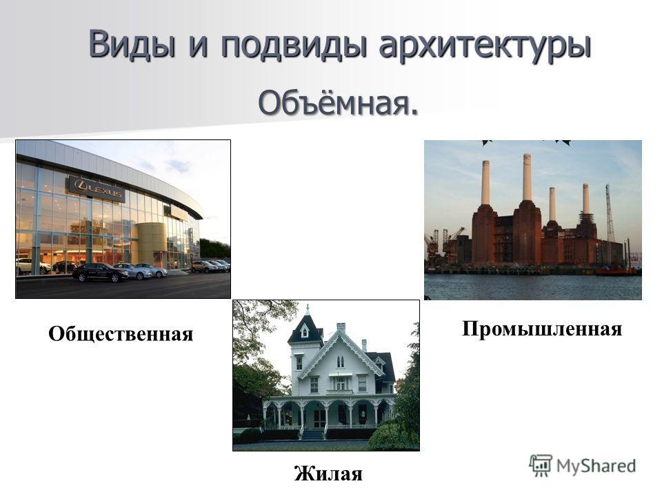 Виды и подвиды архитектуры Объёмная. Жилая Общественная Промышленная