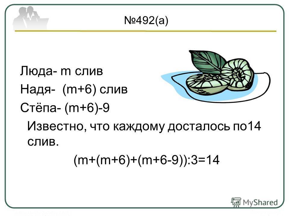 492(а) Люда- m слив Надя- (m+6) слив Стёпа- (m+6)-9 Известно, что каждому досталось по14 слив. (m+(m+6)+(m+6-9)):3=14
