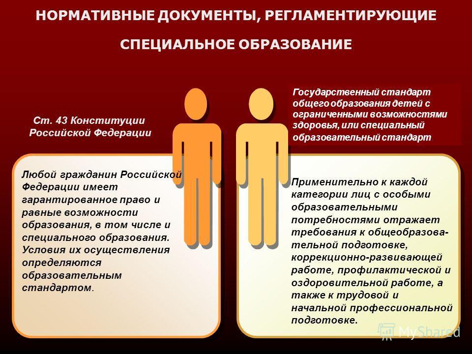 НОРМАТИВНЫЕ ДОКУМЕНТЫ, РЕГЛАМЕНТИРУЮЩИЕ СПЕЦИАЛЬНОЕ ОБРАЗОВАНИЕ Любой гражданин Российской Федерации имеет гарантированное право и равные возможности образования, в том числе и специального образования. Условия их осуществления определяются образоват