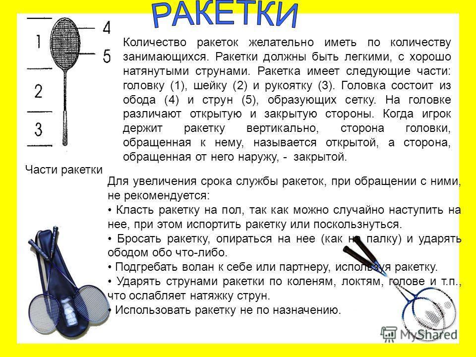 Количество ракеток желательно иметь по количеству занимающихся. Ракетки должны быть легкими, с хорошо натянутыми струнами. Ракетка имеет следующие части: головку (1), шейку (2) и рукоятку (3). Головка состоит из обода (4) и струн (5), образующих сетк