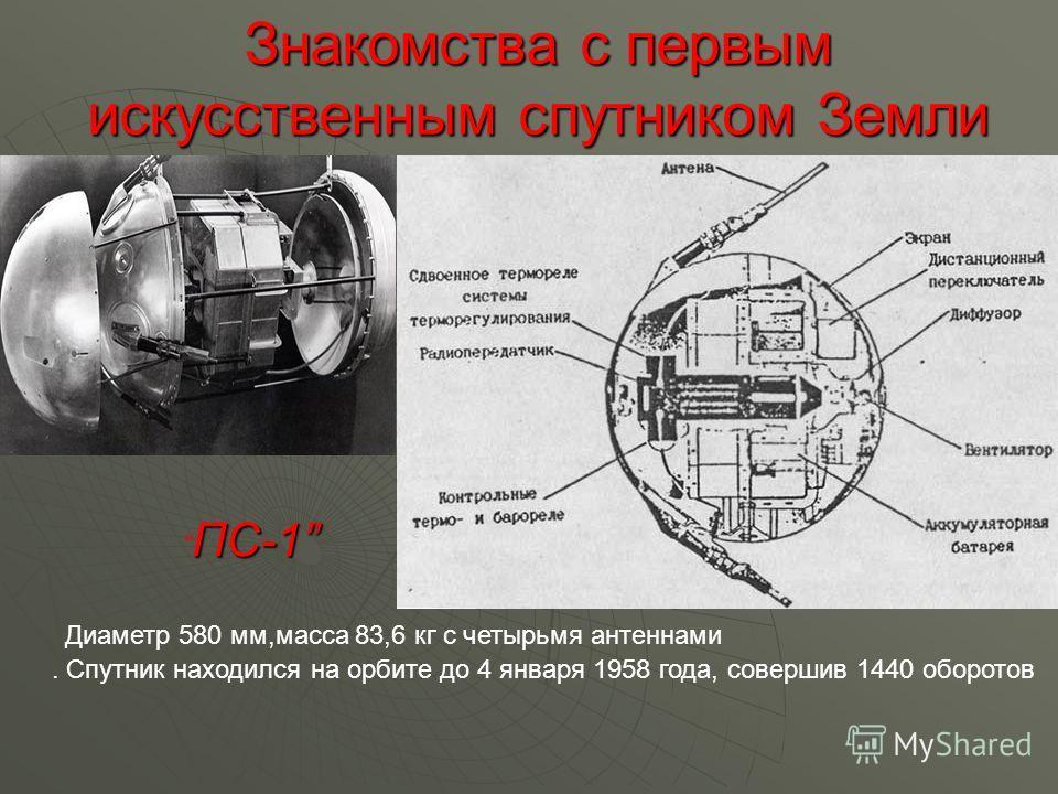 Знакомства с первым искусственным спутником Земли Диаметр 580 мм,масса 83,6 кг с четырьмя антеннами ПС-1. Спутник находился на орбите до 4 января 1958 года, совершив 1440 оборотов