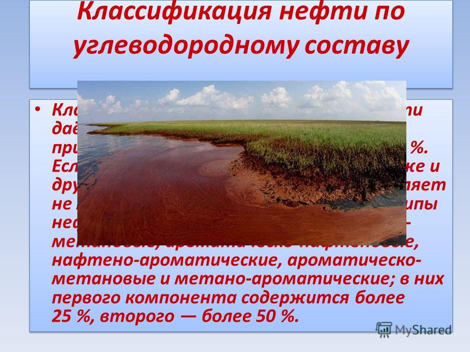 Классификация нефти по углеводородному составу Класс углеводородов, по которому нефти даётся наименование, должны присутствовать в количестве более 50 %. Если присутствуют углеводороды также и других классов и один из классов составляет не менее 25 %