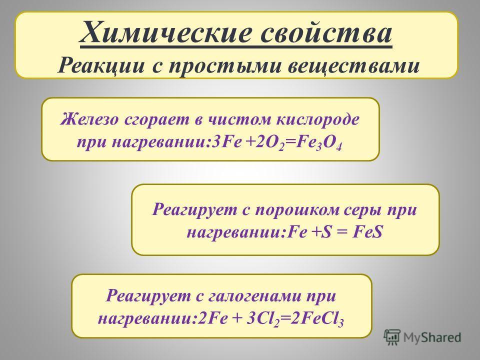 Химические свойства Реакции с простыми веществами Железо сгорает в чистом кислороде при нагревании:3Fe +2O 2 =Fe 3 O 4 Реагирует с порошком серы при нагревании:Fe +S = FeS Реагирует с галогенами при нагревании:2Fe + 3Cl 2 =2FeCl 3