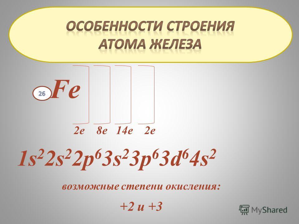 Fe 2е 8е 14е 2е 1s 2 2s 2 2р 6 3s 2 3р 6 3d 6 4s 2 возможные степени окисления: +2 и +3