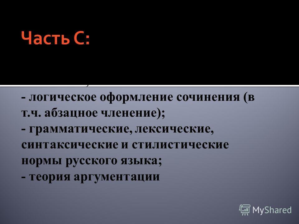 - композиционное оформление сочинения; - логическое оформление сочинения (в т.ч. абзацное членение); - грамматические, лексические, синтаксические и стилистические нормы русского языка; - теория аргументации