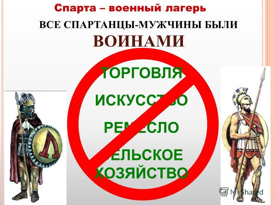 Спарта – военный лагерь ВСЕ СПАРТАНЦЫ-МУЖЧИНЫ БЫЛИ ВОИНАМИ ТОРГОВЛЯ ИСКУССТВО РЕМЕСЛО СЕЛЬСКОЕ ХОЗЯЙСТВО