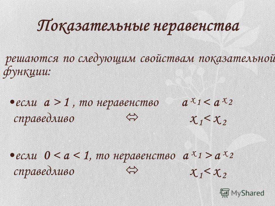 Показательные неравенства решаются по следующим свойствам показательной функции: если а > 1, то неравенство a х 1 < а х 2 справедливо х 1 < х 2 если 0 < а < 1, то неравенство a х 1 > а х 2 справедливо х 1 < х 2