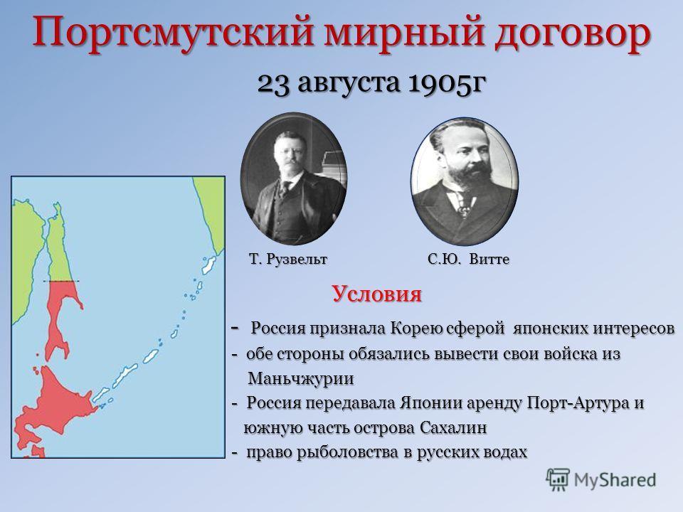 Портсмутский мирный договор 23 августа 1905г 23 августа 1905г Условия Условия - Россия признала Корею сферой японских интересов - Россия признала Корею сферой японских интересов - обе стороны обязались вывести свои войска из - обе стороны обязались в
