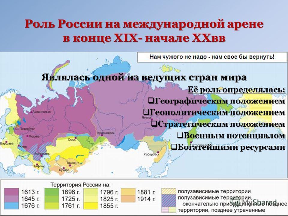 Роль России на международной арене в конце XIX- начале XXвв Являлась одной из ведущих стран мира Её роль определялась: Географическим положением Географическим положением Геополитическим положением Геополитическим положением Стратегическим положением