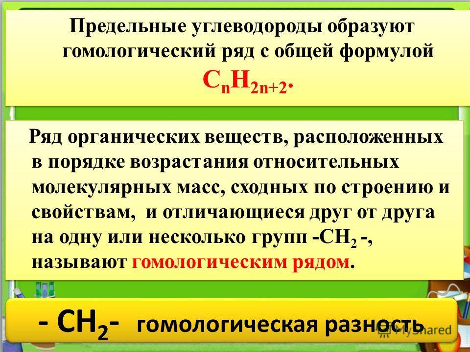 НазваниеФормула 1.Метан CH 4 2.Этан C2H6C2H6 3.Пропан C3H8C3H8 4.Бутан C 4 H 10 5.Пентан C 5 H 12 6.Гексан C 6 H 14 7.Гептан C 7 H 16 8.Октан C 8 H 18 9.Нонан C 9 H 20 10Декан C 10 H 22 Чем отличаются эти вещества по составу? гомологическая разность