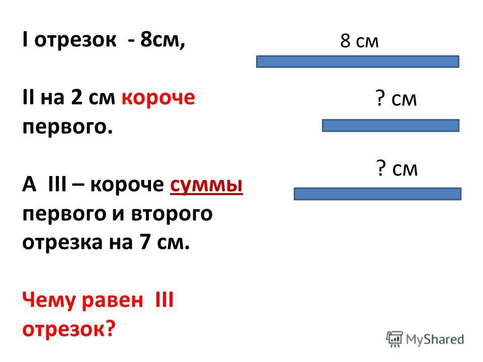 I отрезок - 8см, II на 2 см короче первого. А III – короче суммы первого и второго отрезка на 7 см. Чему равен III отрезок? 8 см ? см