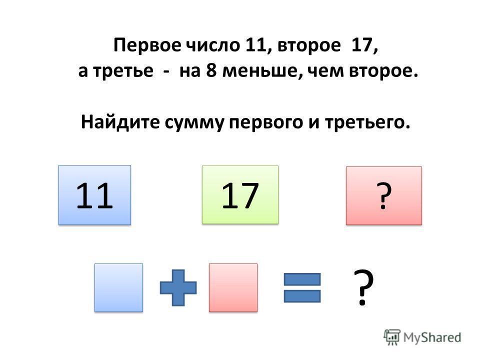 Первое число 11, второе 17, а третье - на 8 меньше, чем второе. Найдите сумму первого и третьего. 11 17 ? ? ?