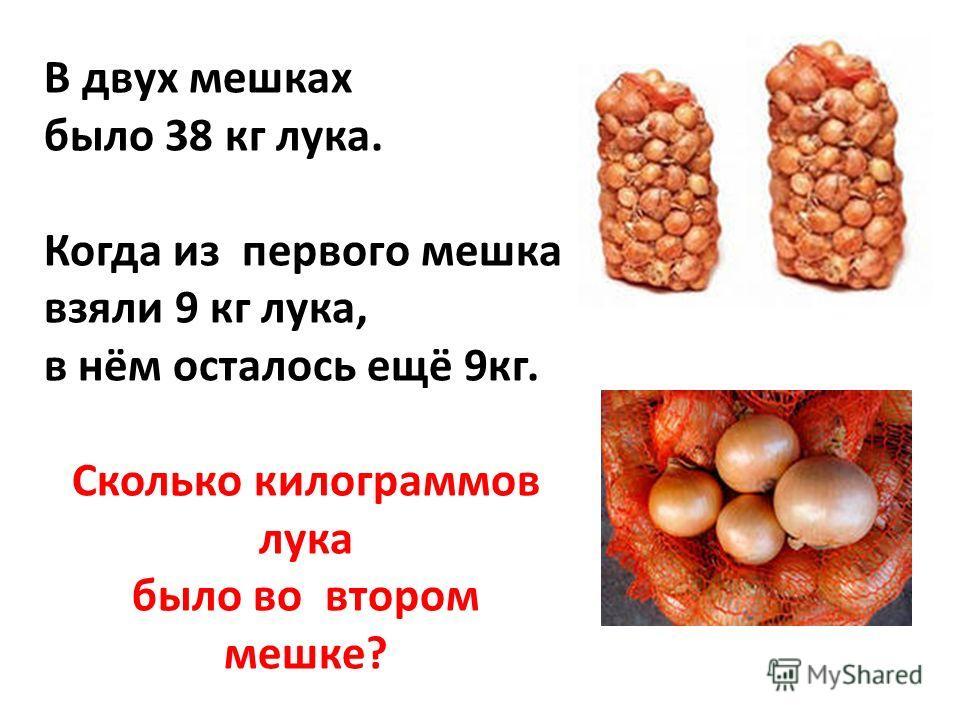 В двух мешках было 38 кг лука. Когда из первого мешка взяли 9 кг лука, в нём осталось ещё 9кг. Сколько килограммов лука было во втором мешке?