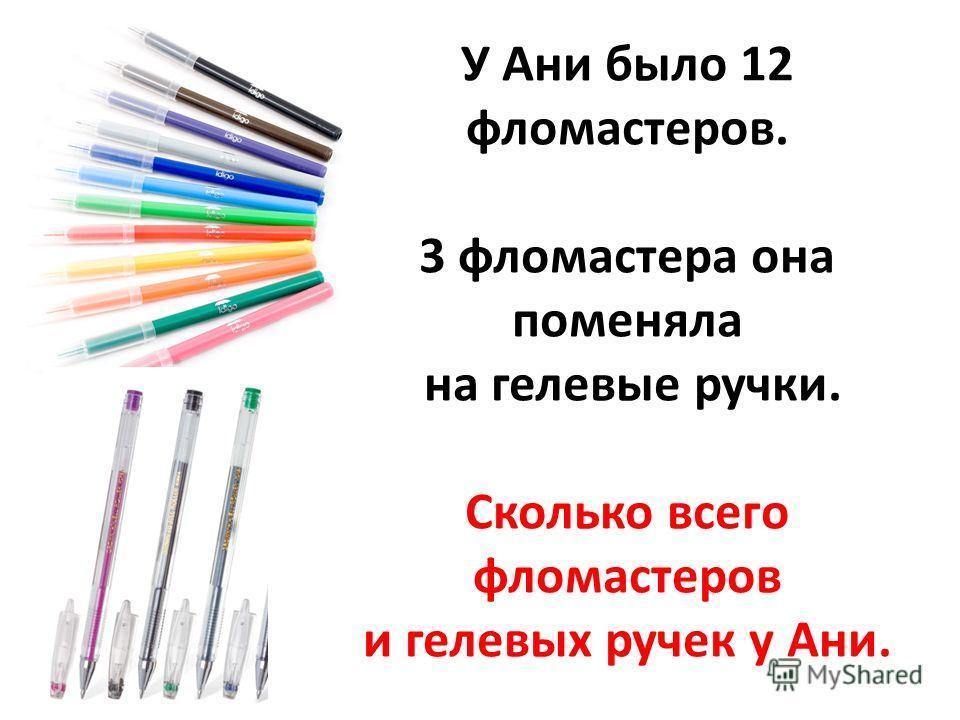 У Ани было 12 фломастеров. 3 фломастера она поменяла на гелевые ручки. Сколько всего фломастеров и гелевых ручек у Ани.