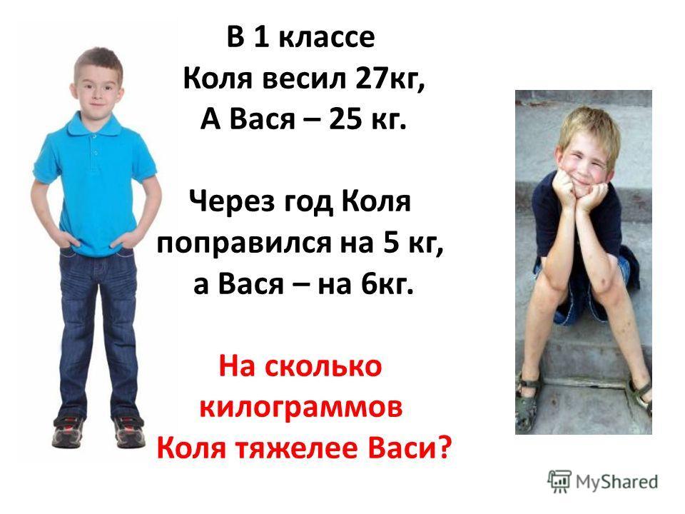 В 1 классе Коля весил 27кг, А Вася – 25 кг. Через год Коля поправился на 5 кг, а Вася – на 6кг. На сколько килограммов Коля тяжелее Васи?