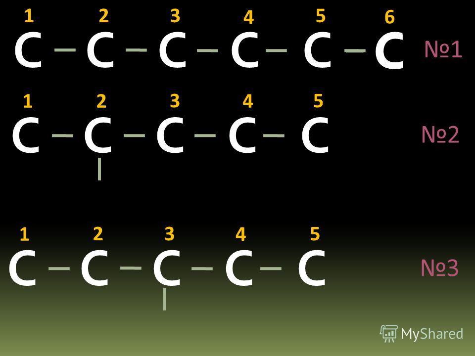 Составьте формулы изомеров гексана: С С С 123456 С С С С С 12345 С