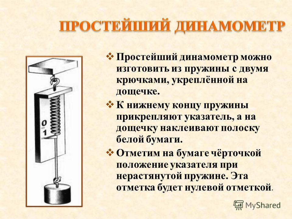 Простейший динамометр можно изготовить из пружины с двумя крючками, укреплённой на дощечке. К нижнему концу пружины прикрепляют указатель, а на дощечку наклеивают полоску белой бумаги. Отметим на бумаге чёрточкой положение указателя при нерастянутой