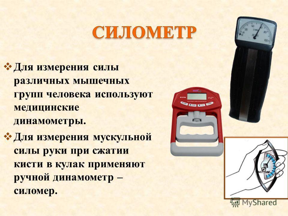 Для измерения силы различных мышечных групп человека используют медицинские динамометры. Для измерения мускульной силы руки при сжатии кисти в кулак применяют ручной динамометр – силомер.