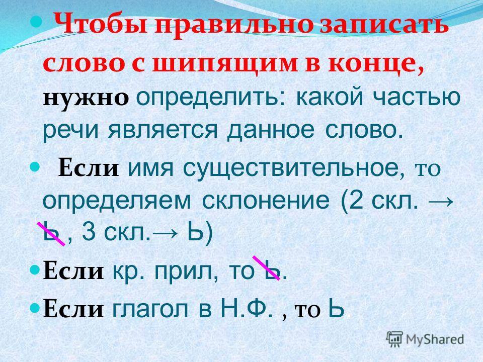 Чтобы правильно записать слово с шипящим в конце, нужно определить: какой частью речи является данное слово. Если имя существительное, то определяем склонение (2 скл. Ь, 3 скл. Ь) Если кр. прил, то Ь. Если глагол в Н.Ф., то Ь.