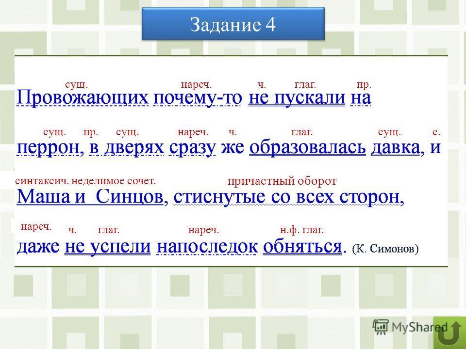 Задание 4 Запишите предложение под диктовку, укажите части речи, выполните синтаксический разбор. с. сущ. глаг. н.ф. глаг. нареч. с. мест. пр. ч. пр.причастие причастный оборот синтаксич. неделимое сочет.
