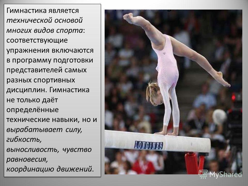 Гимнастика является технической основой многих видов спорта: соответствующие упражнения включаются в программу подготовки представителей самых разных спортивных дисциплин. Гимнастика не только даёт определённые технические навыки, но и вырабатывает с