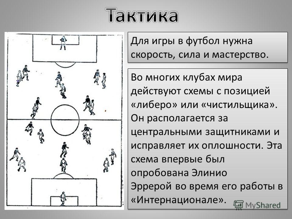 Для игры в футбол нужна скорость, сила и мастерство. Во многих клубах мира действуют схемы с позицией «либеро» или «чистильщика». Он располагается за центральными защитниками и исправляет их оплошности. Эта схема впервые был опробована Элинио Эррерой