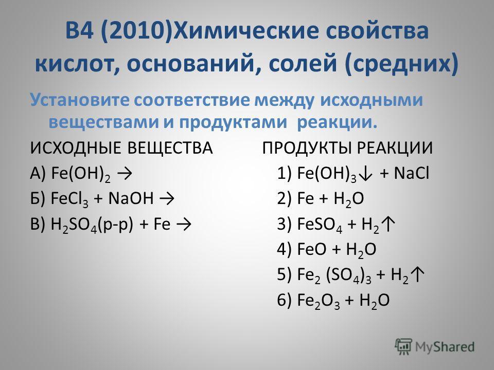 В4 (2010)Химические свойства кислот, оснований, солей (средних) Установите соответствие между исходными веществами и продуктами реакции. ИСХОДНЫЕ ВЕЩЕСТВА ПРОДУКТЫ РЕАКЦИИ A) Fe(OH) 2 1) Fe(OH) 3 + NaCl Б) FeCl 3 + NaOH 2) Fe + H 2 O В) H 2 SO 4 (р-р
