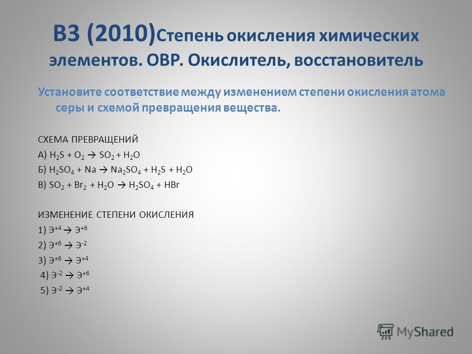В3 (2010) Степень окисления химических элементов. ОВР. Окислитель, восстановитель Установите соответствие между изменением степени окисления атома серы и схемой превращения вещества. СХЕМА ПРЕВРАЩЕНИЙ A) H 2 S + O 2 SO 2 + H 2 O Б) H 2 SO 4 + Na Na 2