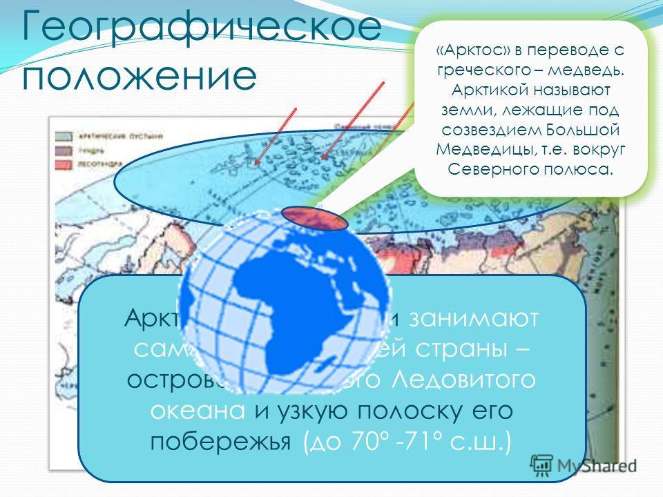 Географическое положение Арктические пустыни занимают самый север нашей страны – острова Северного Ледовитого океана и узкую полоску его побережья (до 70º -71º с.ш.) «Арктос» в переводе с греческого – медведь. Арктикой называют земли, лежащие под соз