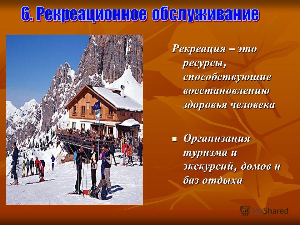 Рекреация – это ресурсы, способствующие восстановлению здоровья человека Организация туризма и экскурсий, домов и баз отдыха Организация туризма и экскурсий, домов и баз отдыха