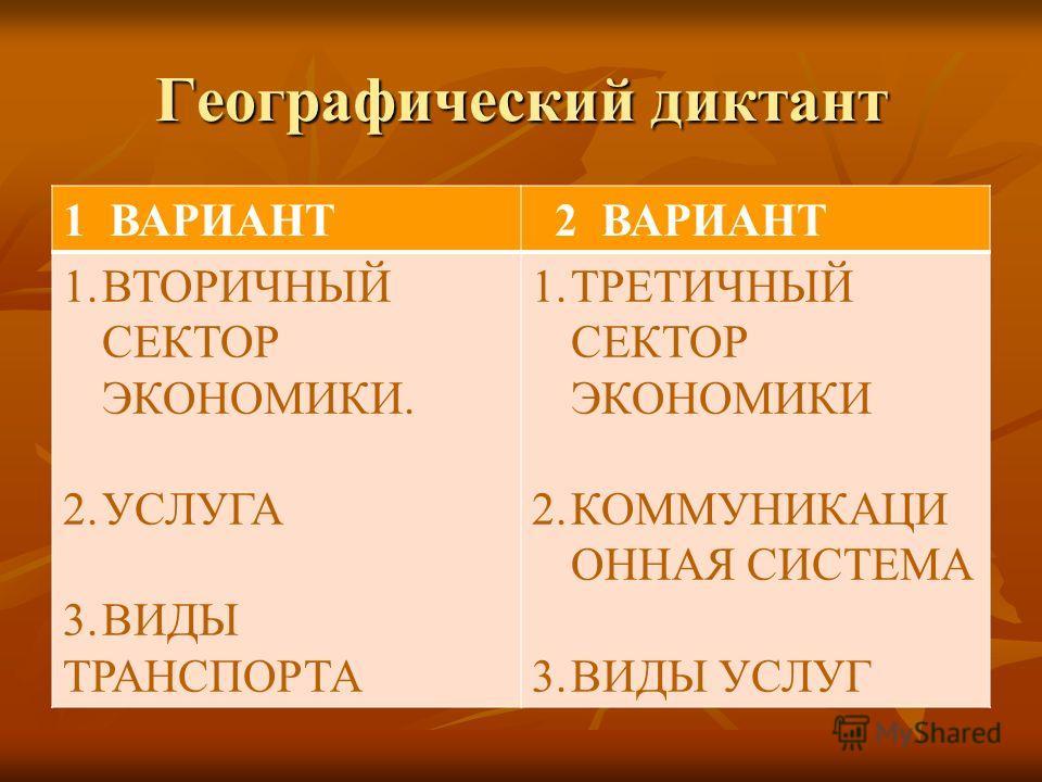 Географический диктант 1 ВАРИАНТ 2 ВАРИАНТ 1.ВТОРИЧНЫЙ СЕКТОР ЭКОНОМИКИ. 2.УСЛУГА 3.ВИДЫ ТРАНСПОРТА 1.ТРЕТИЧНЫЙ СЕКТОР ЭКОНОМИКИ 2.КОММУНИКАЦИ ОННАЯ СИСТЕМА 3.ВИДЫ УСЛУГ