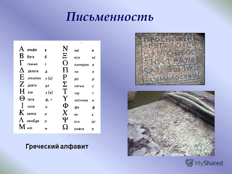 Письменность Греческий алфавит