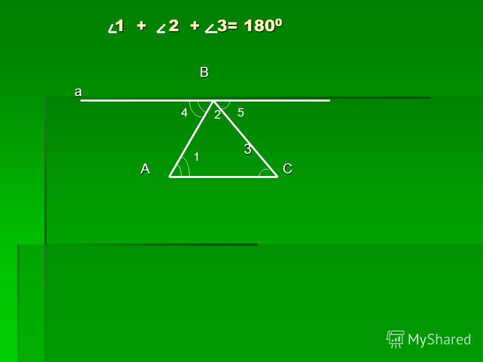 В а 3 А С А С 1 2 54 1 + 2 + 3= 180 0 1 + 2 + 3= 180 0