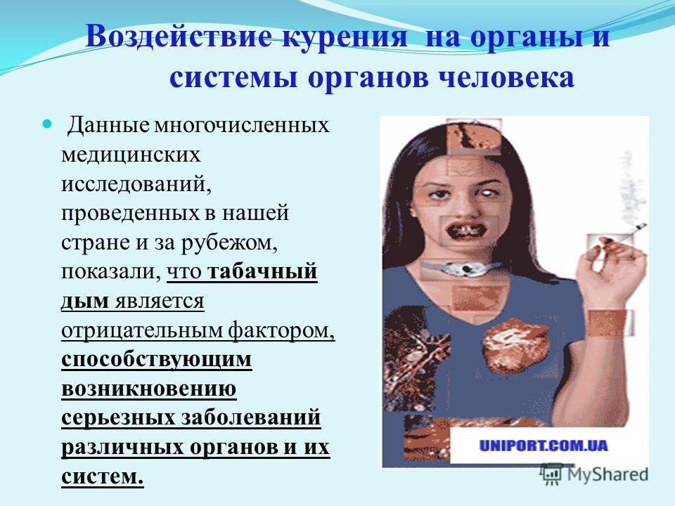 Воздействие курения на органы и системы органов человека Данные многочисленных медицинских исследований, проведенных в нашей стране и за рубежом, показали, что табачный дым является отрицательным фактором, способствующим возникновению серьезных забол