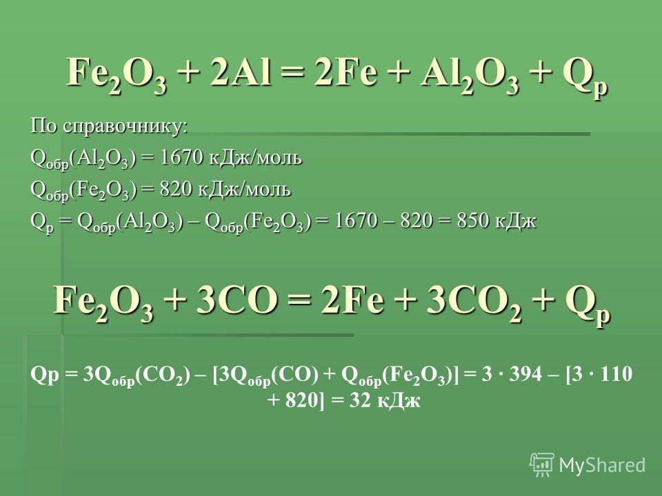 Fe 2 O 3 + 2Al = 2Fe + Al 2 O 3 + Q р По справочнику: Q обр (Al 2 O 3 ) = 1670 кДж/моль Q обр (Fe 2 O 3 ) = 820 кДж/моль Q р = Q обр (Al 2 O 3 ) – Q обр (Fe 2 O 3 ) = 1670 – 820 = 850 кДж Fe 2 O 3 + 3CO = 2Fe + 3CO 2 + Q р Qр = 3Q обр (CO 2 ) – [3Q о
