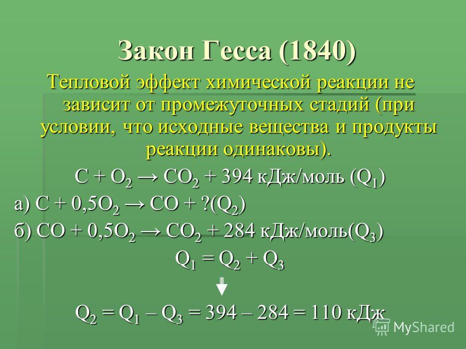 Закон Гесса (1840) Тепловой эффект химической реакции не зависит от промежуточных стадий (при условии, что исходные вещества и продукты реакции одинаковы). С + O 2 CO 2 + 394 кДж/моль (Q 1 ) а) С + 0,5O 2 CO + ?(Q 2 ) б) CO + 0,5O 2 CO 2 + 284 кДж/мо