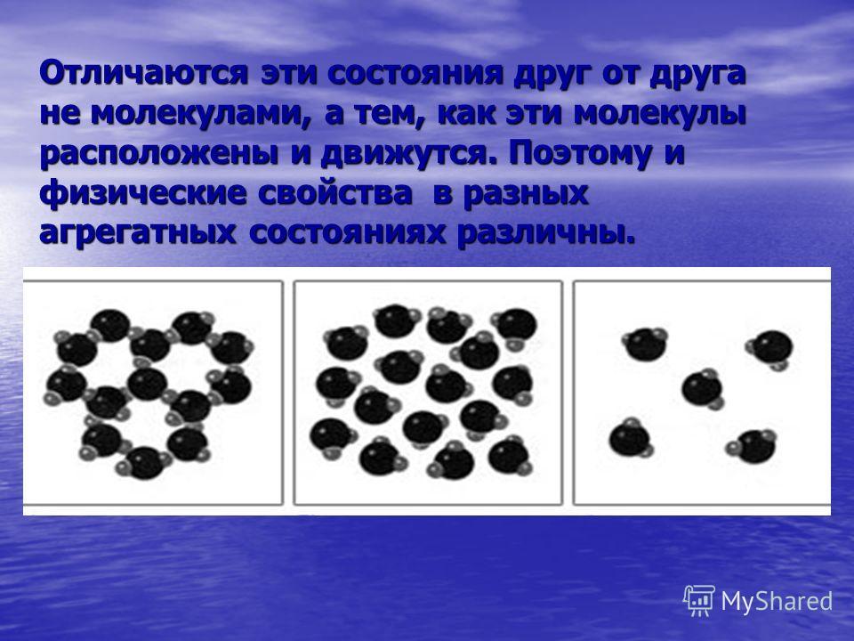 Отличаются эти состояния друг от друга не молекулами, а тем, как эти молекулы расположены и движутся. Поэтому и физические свойства в разных агрегатных состояниях различны.