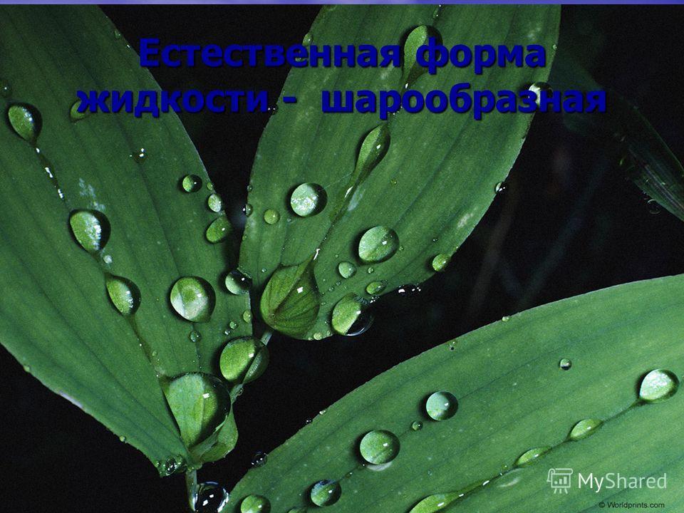 Естественная форма жидкости - шарообразная